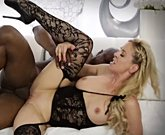 Busty blonde Cherie Deville sucks and fucks a big black cock