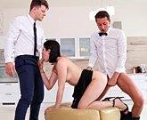 Cute brunette Lady Dee fucks with the room service waiter and her boyfriend in