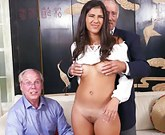 Hot sexy Latina enjoys threesome with grandpas