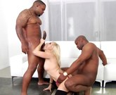 Amazing blonde Ashley Fires gets interracial double penetration with two facials