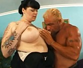 Tattooed goddess with fat ass and big tits gets fucked