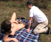 Young boy fucks busty mom in nature