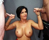 Big tit MILF Shay Fox sucks off six amateur guys and enjoys all their cum!
